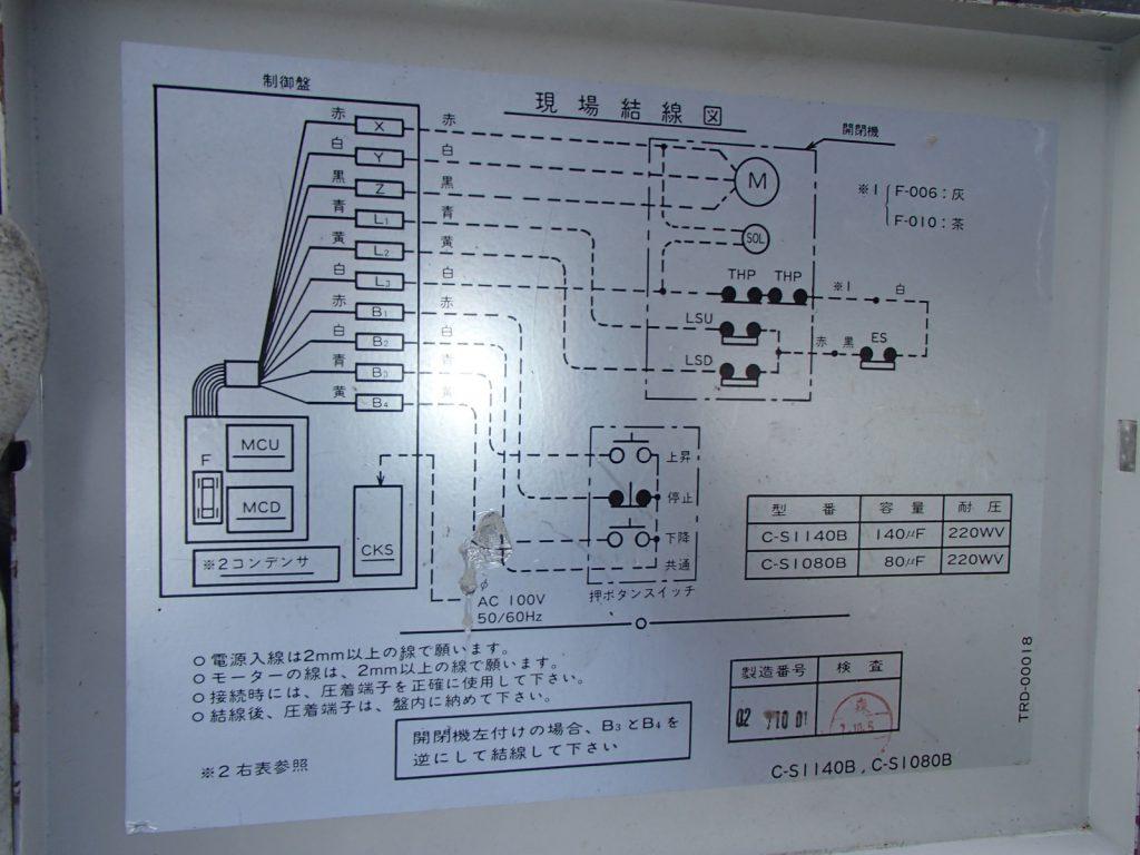 制御盤の蓋裏には結線図があります。